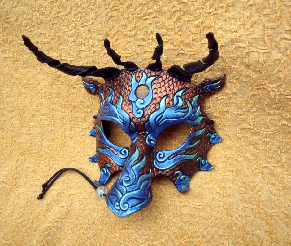 Aqua Blue and Copper Asian Flame Dragon Mask by Merimask on Etsy