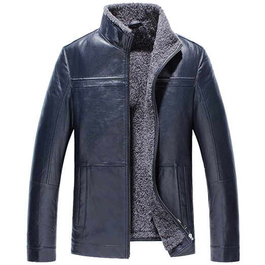 CWMALLS Men's Shearling Leather Jacket Navy CW836502 at Amazon Men's Clothing store: