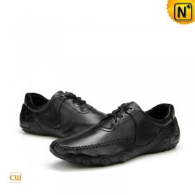 Mens Black Leather Driving Loafer Shoes | CWMALLS
