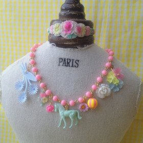 vintage pony & flower Necklace (pink) B type - Michu Coquette