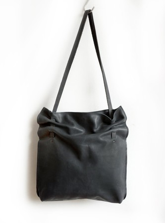 Luxourious Black Leather Pleated Bag, Soft Eco Leather Crunch Bag,