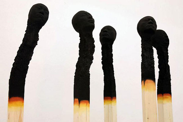 Art installation illustrates the harsh impact of burnout syndrome: Matchstick men by German artist Wolfgang Stiller - DZine Trip