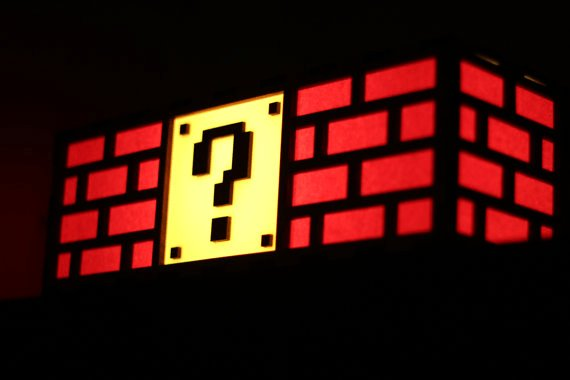 Colorful Mario Question Mark Block Lamp by TheBackPackShoppe