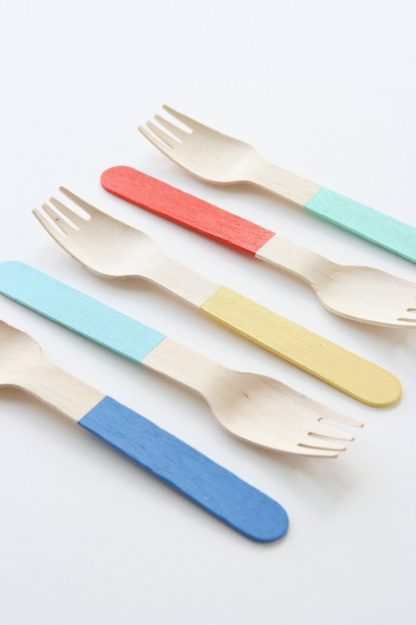 Custom Painted Wooden Forks set of 12 by petitmoulin on Etsy