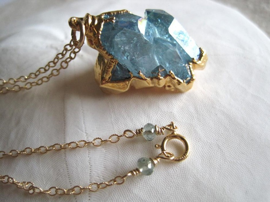 Aqua aura cluster necklace quartz nugget gold | Kahili Creations Handmade Jewelry from Hawaii