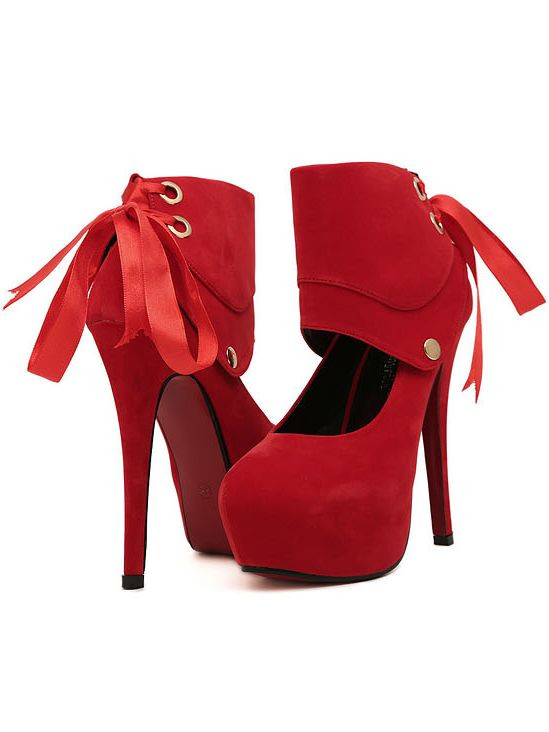 Spring Fashion Back Ribbon Design Red High Heel Shoes