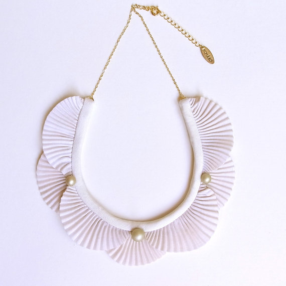 Etsy Transaction - Hand Dyed Nami Wave Necklace - Ivory- Made to order