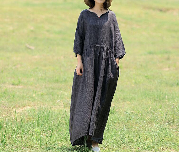 Large size linen Maxi dress in dark grey Long linen dress