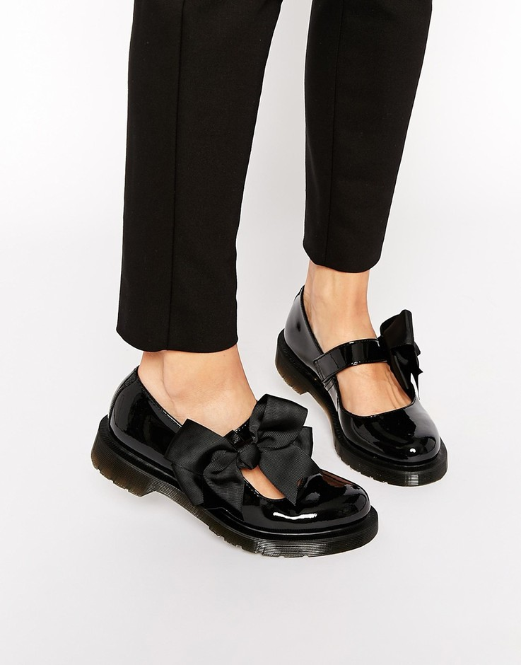 Dr Martens | Dr Martens Mariel Bow Mary Jane Patent Flat Shoes at ASOS