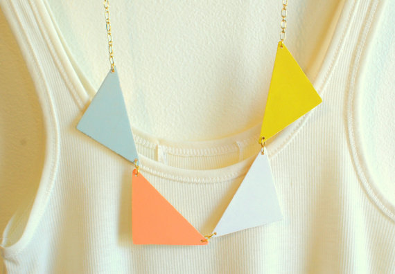 pastel bunting triangle necklace triangle necklace by theswanlake