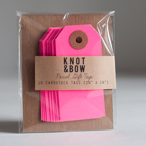 10 Neon Pink Parcel Gift Tags by knotandbow on Etsy