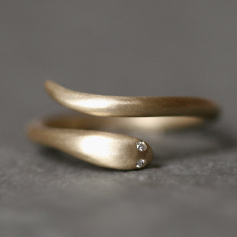 Baby Snake Ring in 10K Gold with Diamonds by MichelleChangJewelry