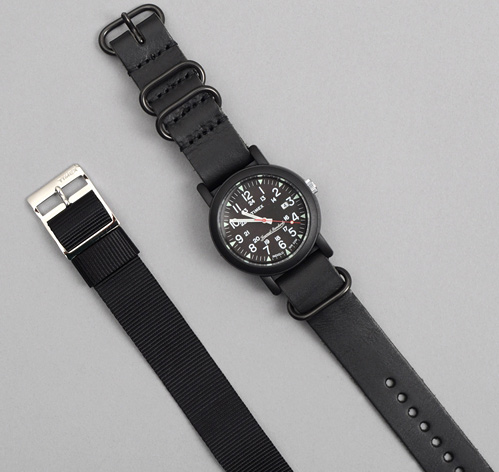 TIMEX X JS CAMPER WATCH WITH LEATHER BAND, BLACK :: HICKOREE'S