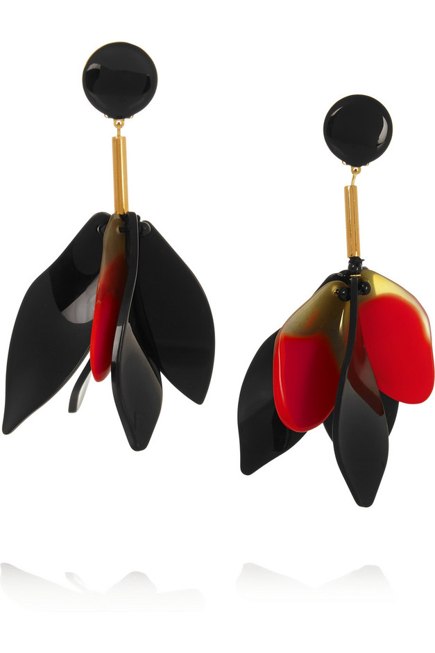 Marni | Gold-plated horn and resin clip earrings | NET-A-PORTER.COM