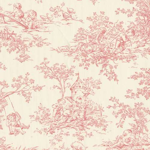 Blush Toile Fabric | Pink and Off-White Toile Fabric | Carousel Designs