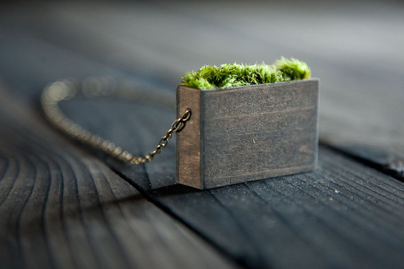 Natural Moss Pendant Necklace by MrLentz on Etsy