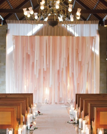 Flowers, candles, and fabric strips transformed ...   { Wedding Bliss…