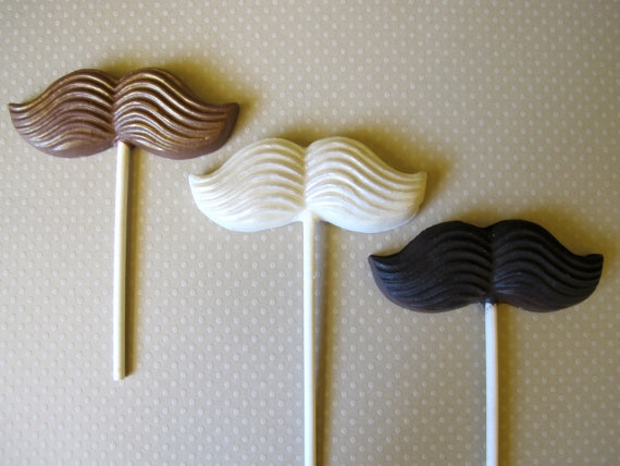3 Chocolate Mustache Lollipops Sparkly by TheFrostedPetticoat
