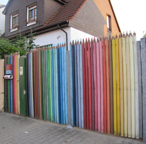art / Thinking about making part of the fence in my new yard like this...colorful at least.