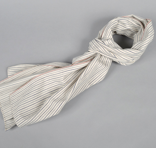 S70-045 SELVEDGE TICKING STRIPE TWILL SCARF, NATURAL :: HICKOREE'S