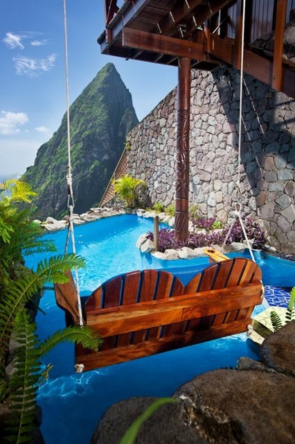 Fancy - Luxury Caribbean Resort – An Intensely Blue Caribbean Sea Dashes Against The Volcanic Piton Mountains