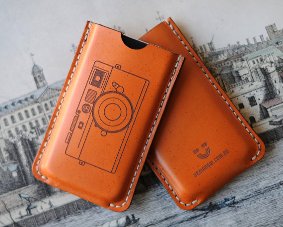 iPhone Leather Case Camera by bRainbowshop on Etsy