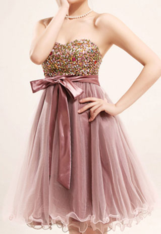 shego shopping mall — [grzxy6600520]Elegant Sweet Bowknot Colorful Paillette Strapless Party Dress