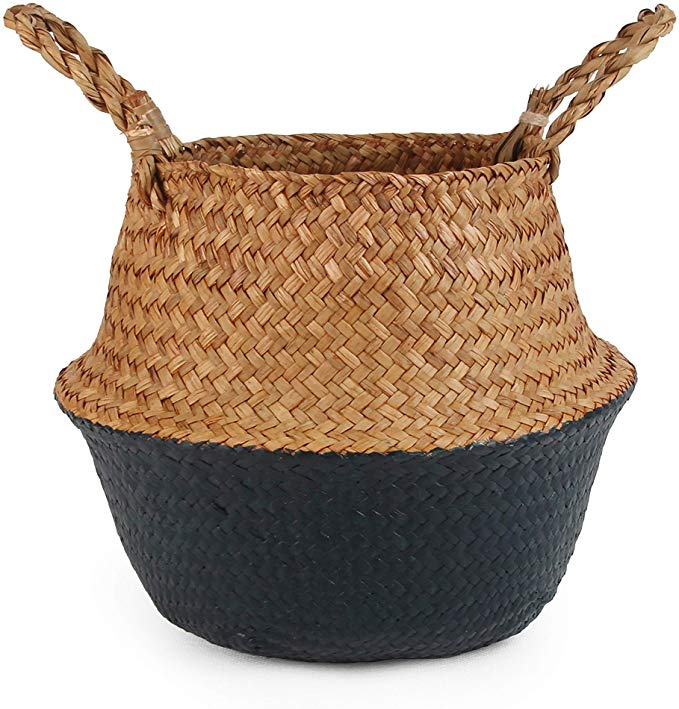 Amazon.com : BlueMake Woven Seagrass Belly Basket for Storage, Laundry, Picnic, Plant Pot Cover, and Grocery and Toy Storage (Small, Black) : Garden & Outdoor