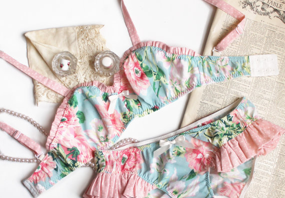 Mint and Pink 'Flora' Bra Large Print Floral with by ohhhlulu