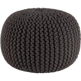 knitted graphite pouf in pillows   CB2