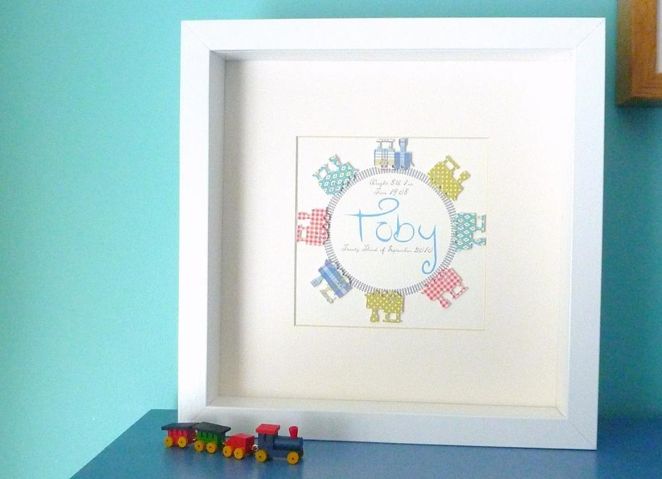 Personalized Mixed Media 3D Art For Nursery. Trains Keepsake. Framed And Mounted   Luulla