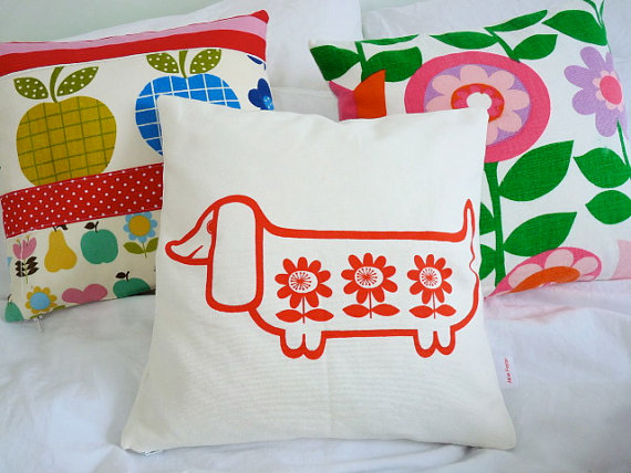 Scandinavian style screen printed sausage dog by Janefoster