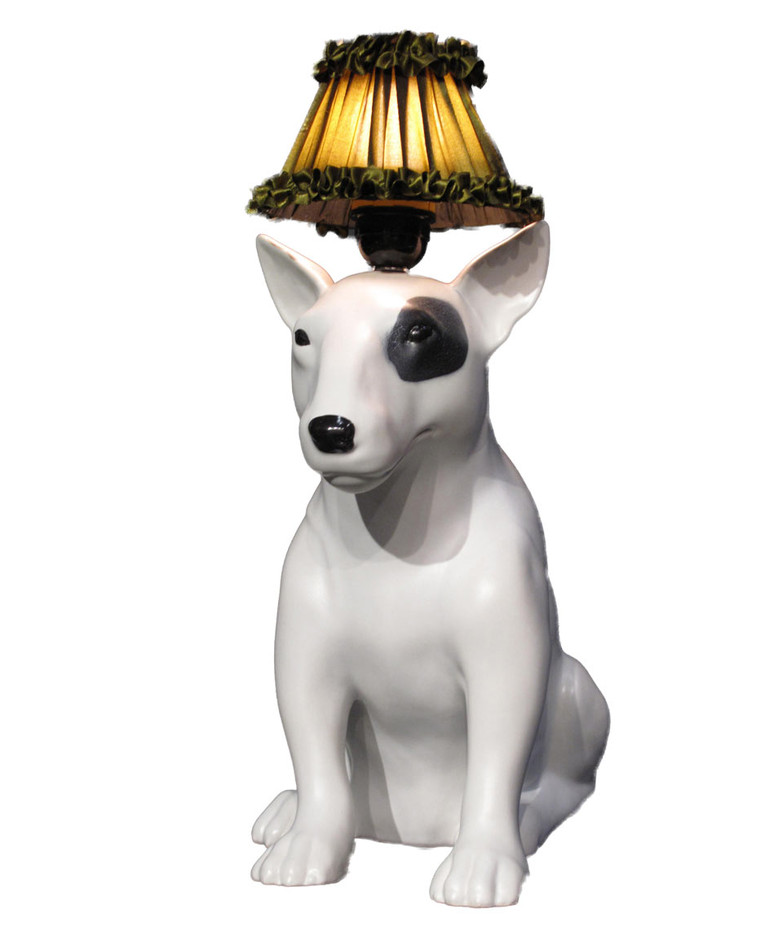 White Mungo Bull Terrier Earthenware Lamp, Abigail Ahern. Shop more lighting from the Abigail Ahern collection online at Liberty.co.uk