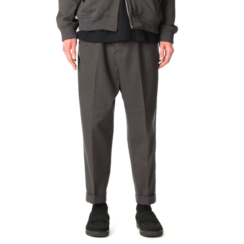 SOPH. | SOLOTEX FULFLAN STRETCH SERGE TURN UP WIDE TAPERED PANTS(M CHARCOAL GRAY):