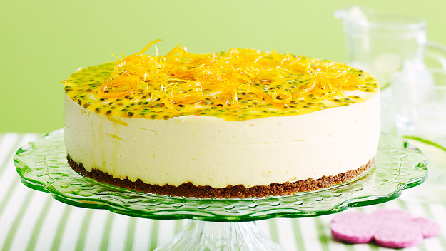 Citrus cheesecake with passionfruit topping
