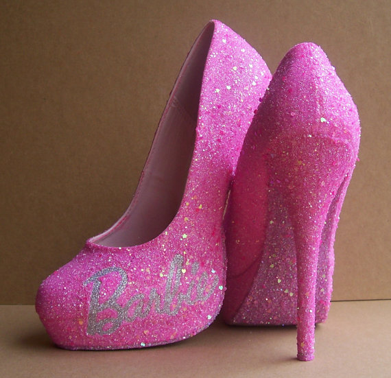 Pink Barbie Glittered High Heels by TattooedMary on Etsy