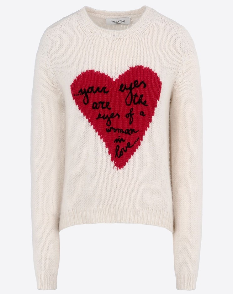 Valentino Online Boutique - Valentino Women Cashmere Sweater With Embroidered Heart