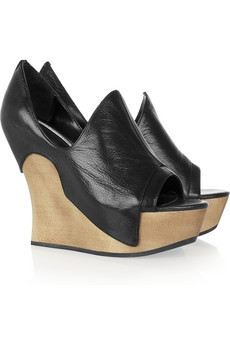 Camilla Skovgaard|Tanganica leather and wooden wedge mules|NET-A-PORTER.COM