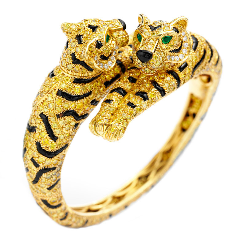 1STDIBS.COM Jewelry & Watches - CARTIER A One of a Kind Double Headed Tiger Bangle Bracelet - FD