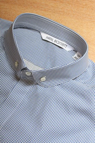 NEIL BARRETT BCM66C Polka Dot Shirt in Blue - SHIRTS from Autograph UK