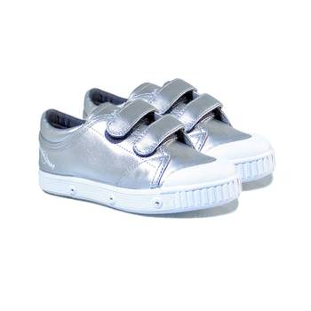 SPRING COURT VELCRO Leather sneakers silver on LFG