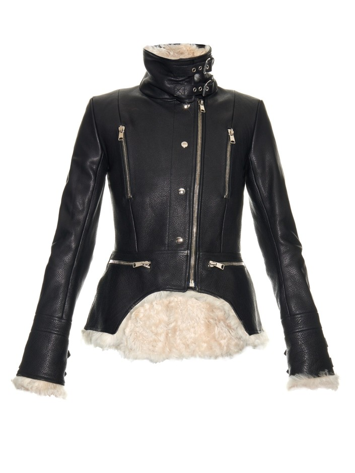 Shearling and leather biker jacket | Alexander McQueen | MATCHESFASHION.COM