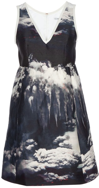 Carven Volcano Print Dress in Blue (marine) | Lyst