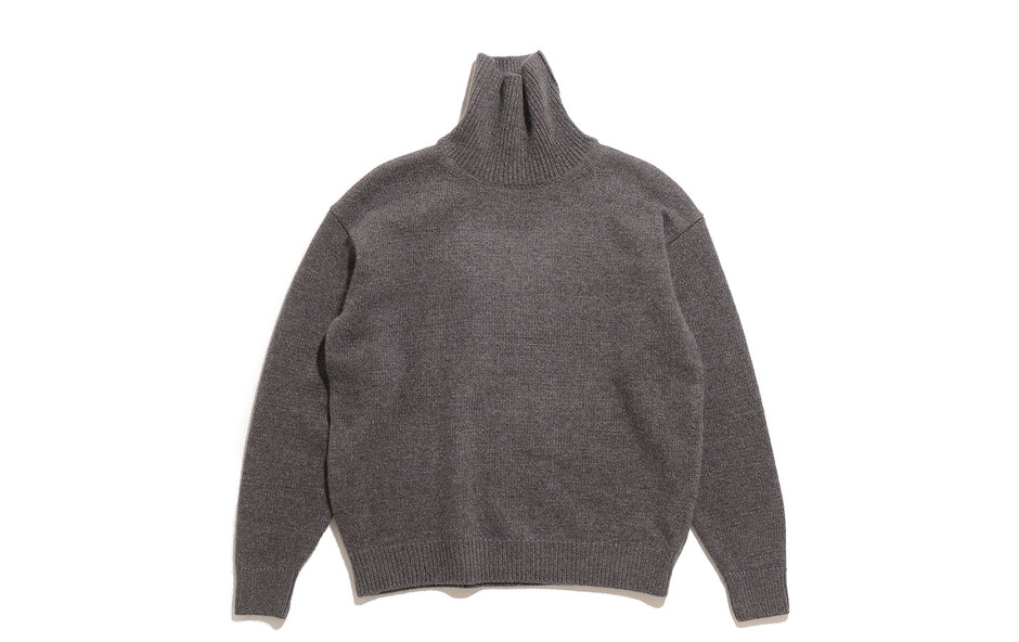 Silk Mohair Wool Knit Turtle Neck P/O-H.Brown