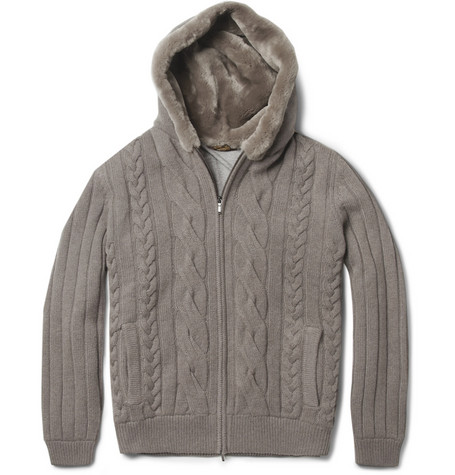 Loro Piana Beaver Fur-Lined Hood Baby Cashmere Cardigan | MR PORTER