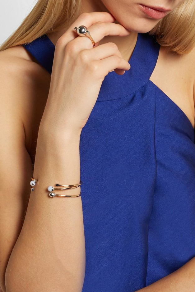 URiBE | Laura set of three gold and rhodium-plated agate cuffs | NET-A-PORTER.COM