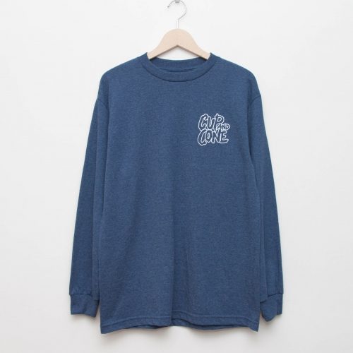 Logo L/S - Heather Navy - cup and cone WEB STORE