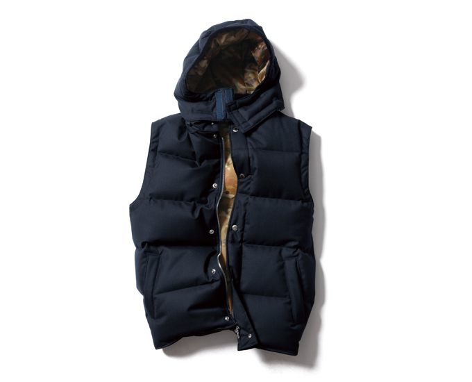 SOPHNET. | PRODUCT | 2 LAYER WOOL HOODED DOWN VEST