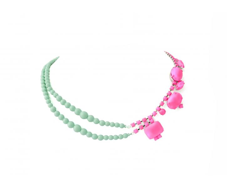 PINK CRYSTAL AND MINT PEARL NECKLACE - Tom Binns