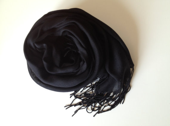 Black Shawl Solid Color Scarf Pashmina Soft and by BagsbyRea